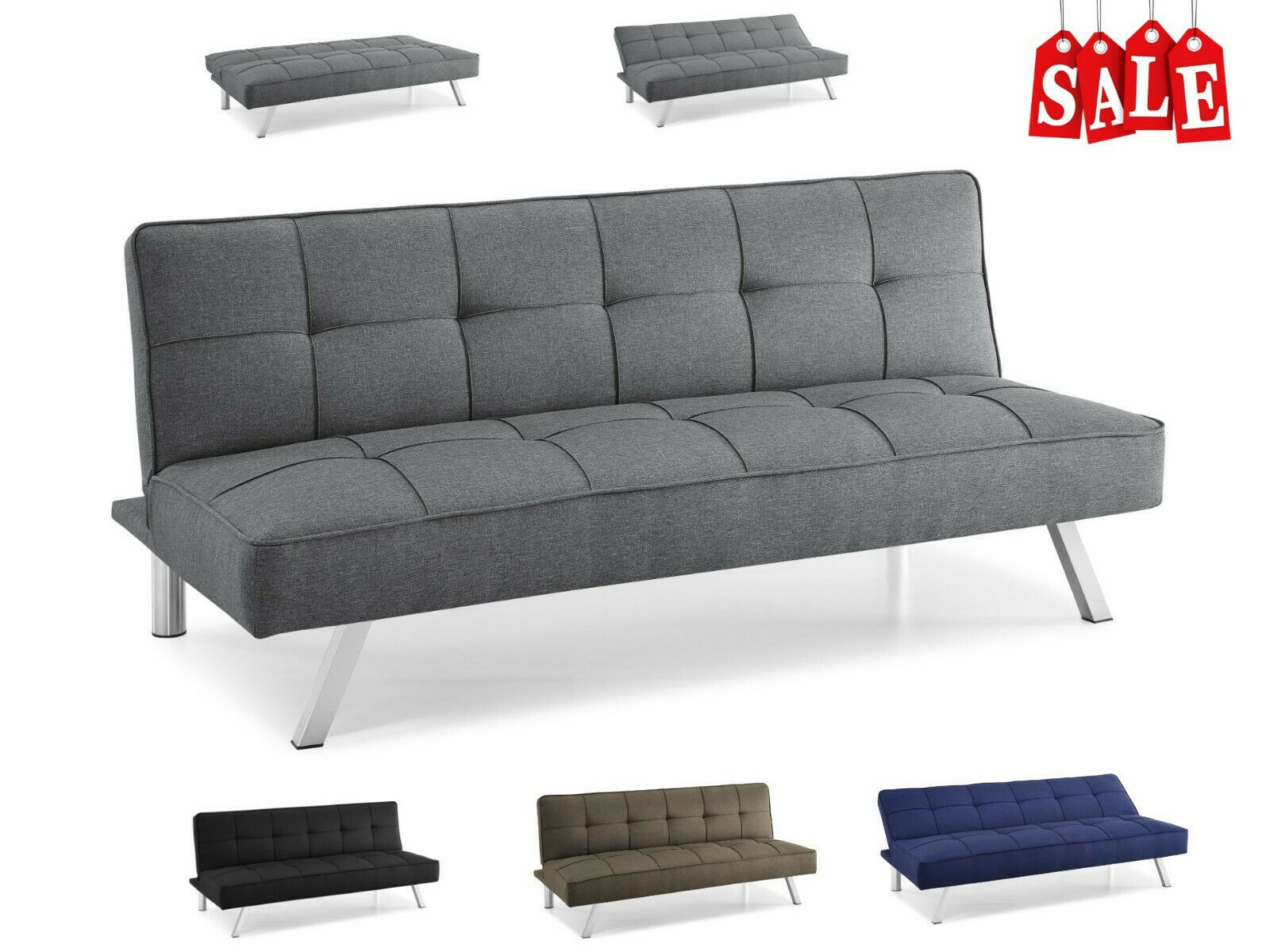 Modern Loveseat Futon Sofa Bed Sleeper Convertible Recliner Tufted Lounger Twin Grey Sofas Ideas Of Grey Sofas Grey Sofas Modern Loveseat Futon Sofa Be