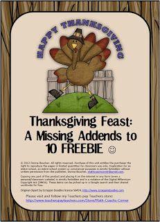 Math Coach's Corner: Missing Addends Thanksgiving Freebie