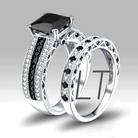 disneys nightmare before christmas jack skellington inspired princess cut 45cts black white swarovski diamond - Nightmare Before Christmas Wedding Rings