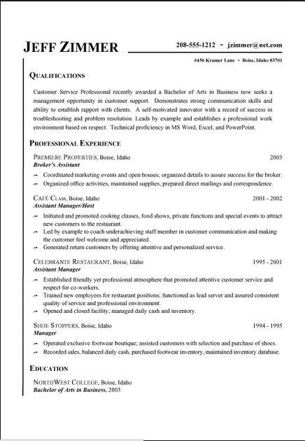 Customer Service Resume Examples Free resume examples Pinterest - waitress resume