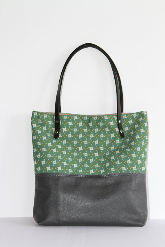 Grey Leather Tribal Tote Bag with Green African Shweshwe, Christmas Gift for her || The Ana Tote