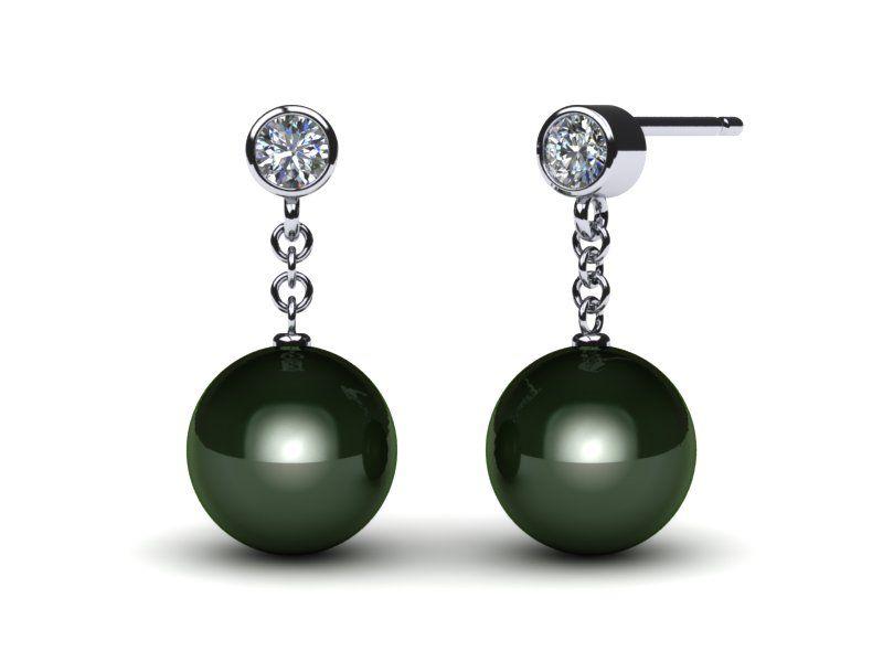 Tahitian Diamond Drop Pearl Earring=9.mm