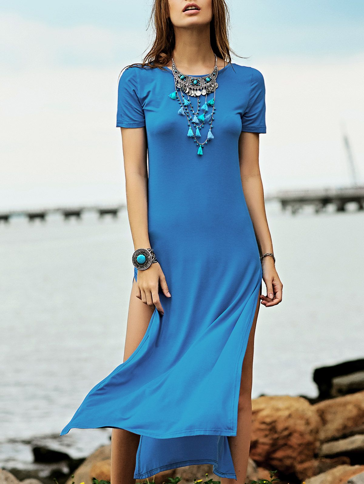 High slit round neck short sleeve maxi dress maxi dresses short