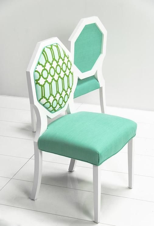 Seating   Octagon Dining Chair With Mint Lattice Fabric I Roomservicestore    Octagon Backed Dining Chair, White Octagon Dining Chair With Mint Seat  And ...