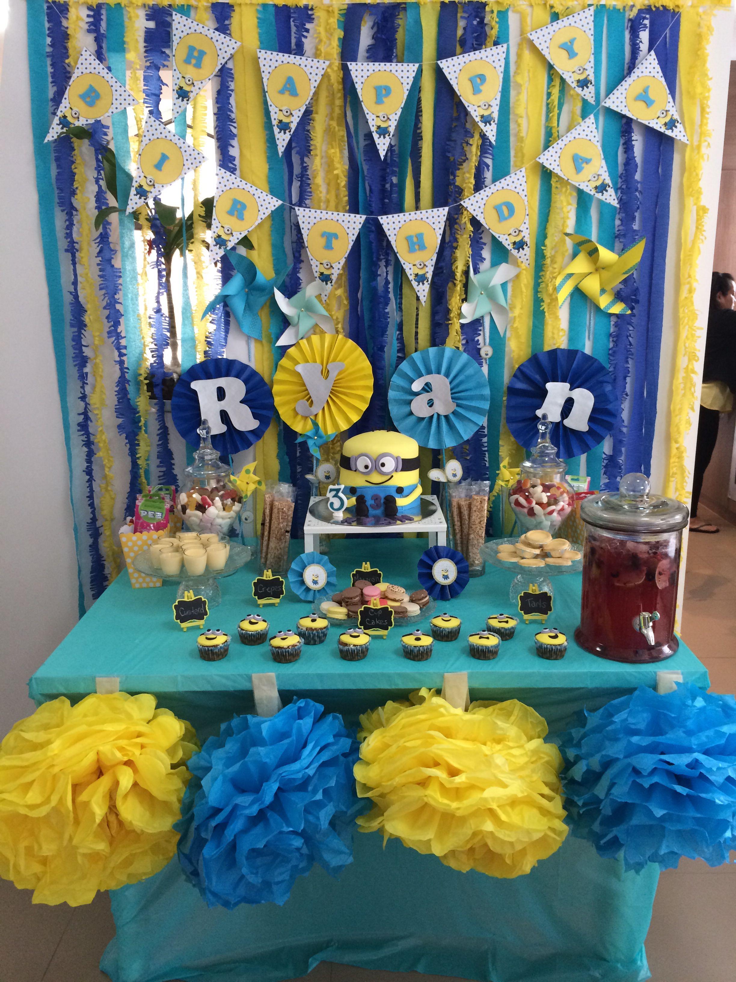 Minion Themed Dessert Table Theme Birthday Party Boy