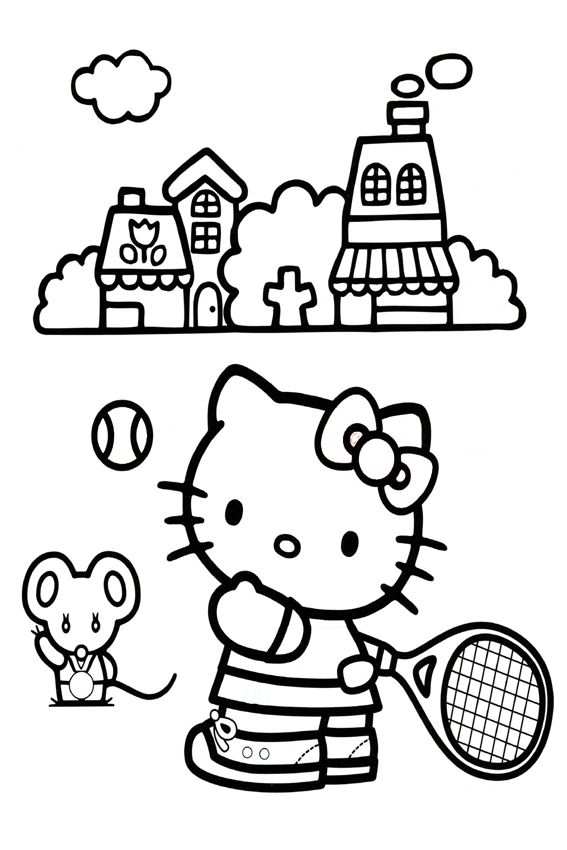 Hello Kitty Playing Tennis Only Kids Only Hello Kitty Colouring Pages Hello Kitty Coloring Kitty Coloring
