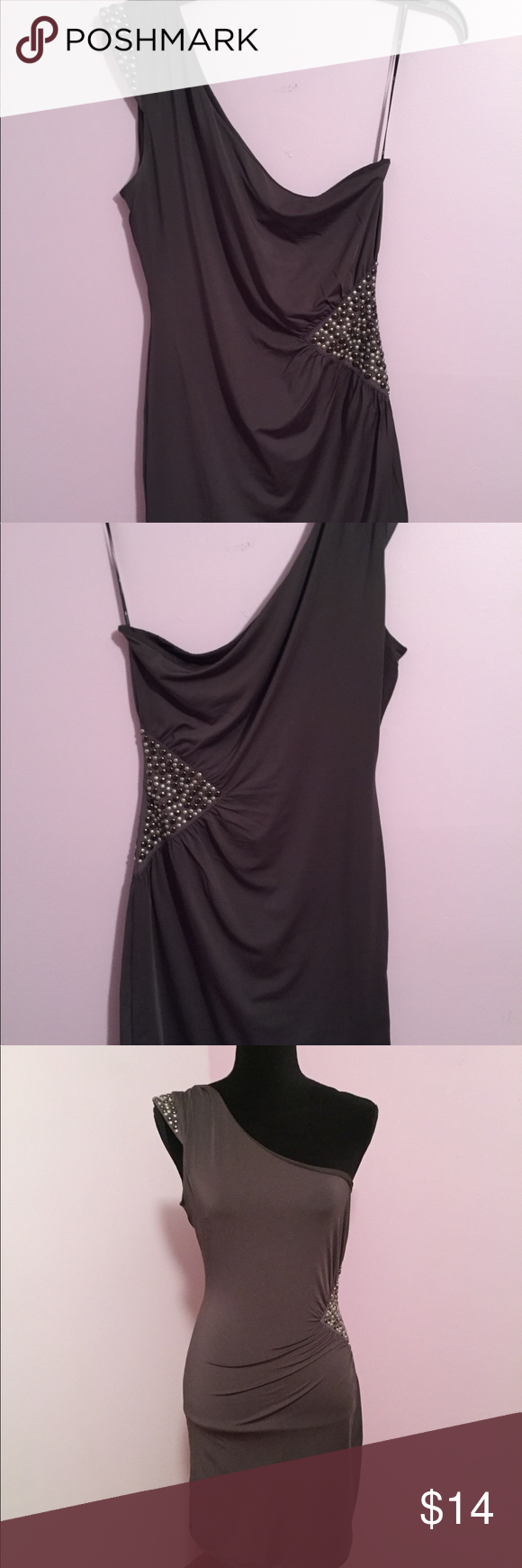 Slinky green fitted dress one shoulder