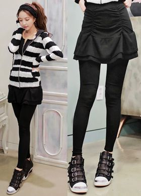 BabiNPumkin Rucked Tiered Skirt LeggingsFor that sweet and feminine touch,wear these skirt leggings. Have a tiered and ruched design skirt, and solid color leggings.You can complement these with your blouse or fashion shirts then you can finish with flats or sneakers.