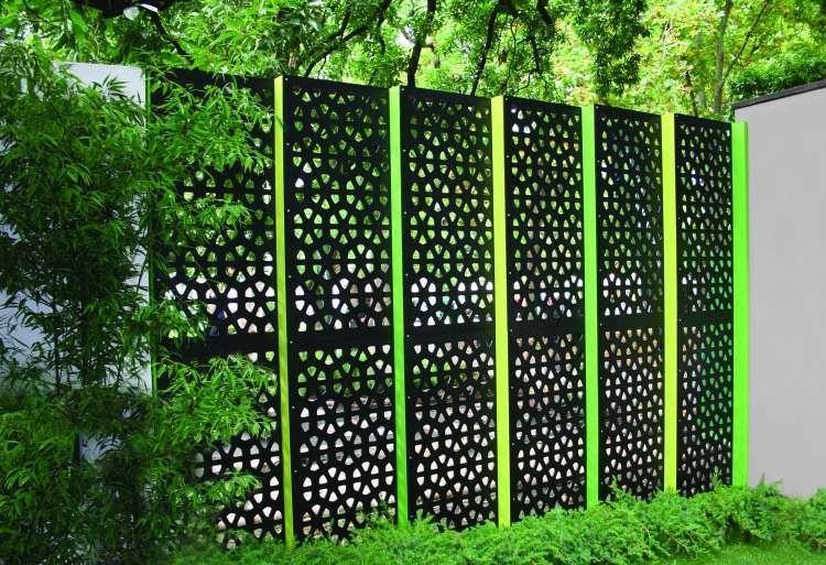 Cloture Brise Vue En Panneau Occultant Metallique Et Bambou Panneau Occultant Occultant Jardin Deco Exterieure