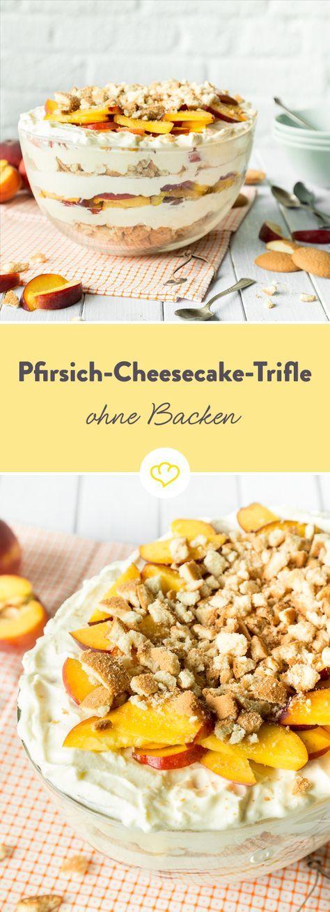 Zu warm um den Ofen anzuschmeißen? Keine Lust ewig in der Küche zu stehen? Aber trotzdem Cheesecake-Heißhunger? Ein klarer Fall für ein herrlich fruchtiges No-bake-Trifle mit knusprigen Eierkeksen, saftigen Pfirsichen und einer unfassbar, köstlichen Cheesecake-Creme. #homemadesweets