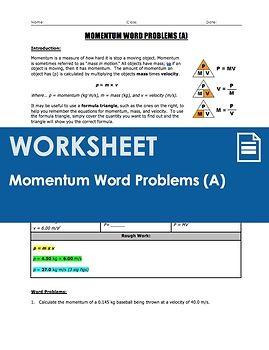Worksheet Momentum P Mv Word Problems Part 1 Word Problems Word Problem Worksheets Work Energy And Power