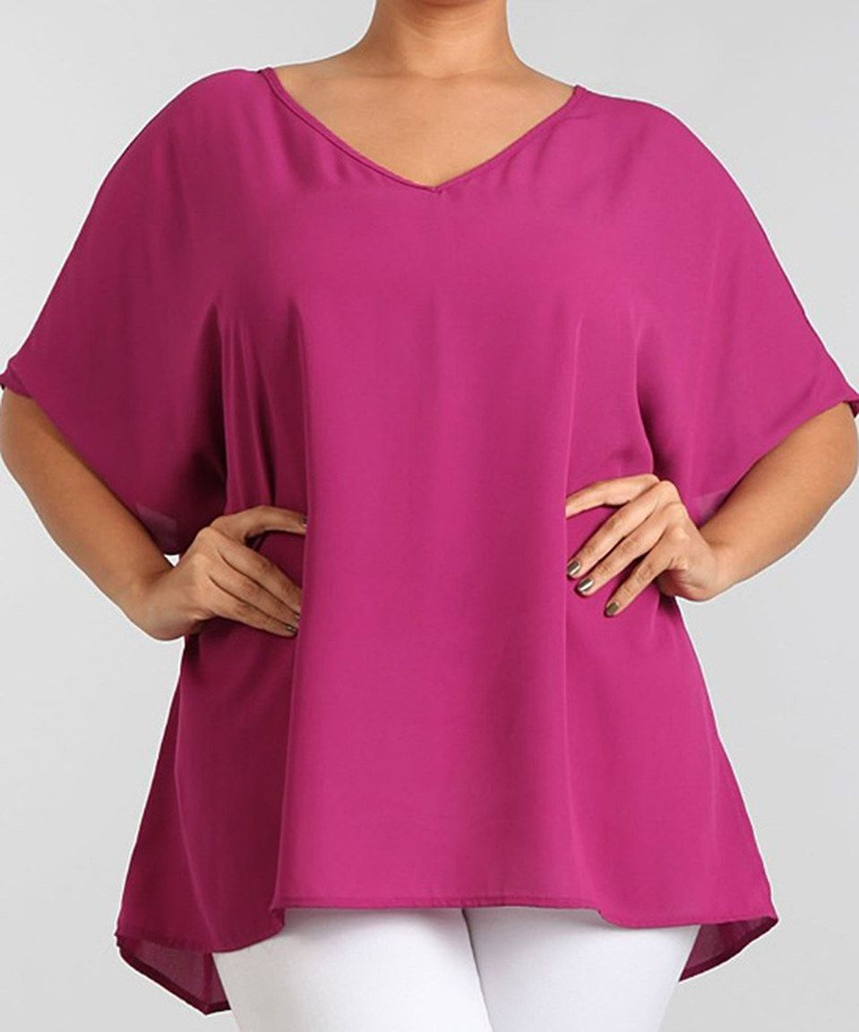 Take a look at this Magenta V-Neck Top - Plus today!