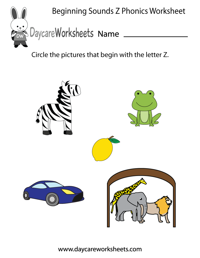 This letter Z phonics worksheet helps preschoolers identify the ...