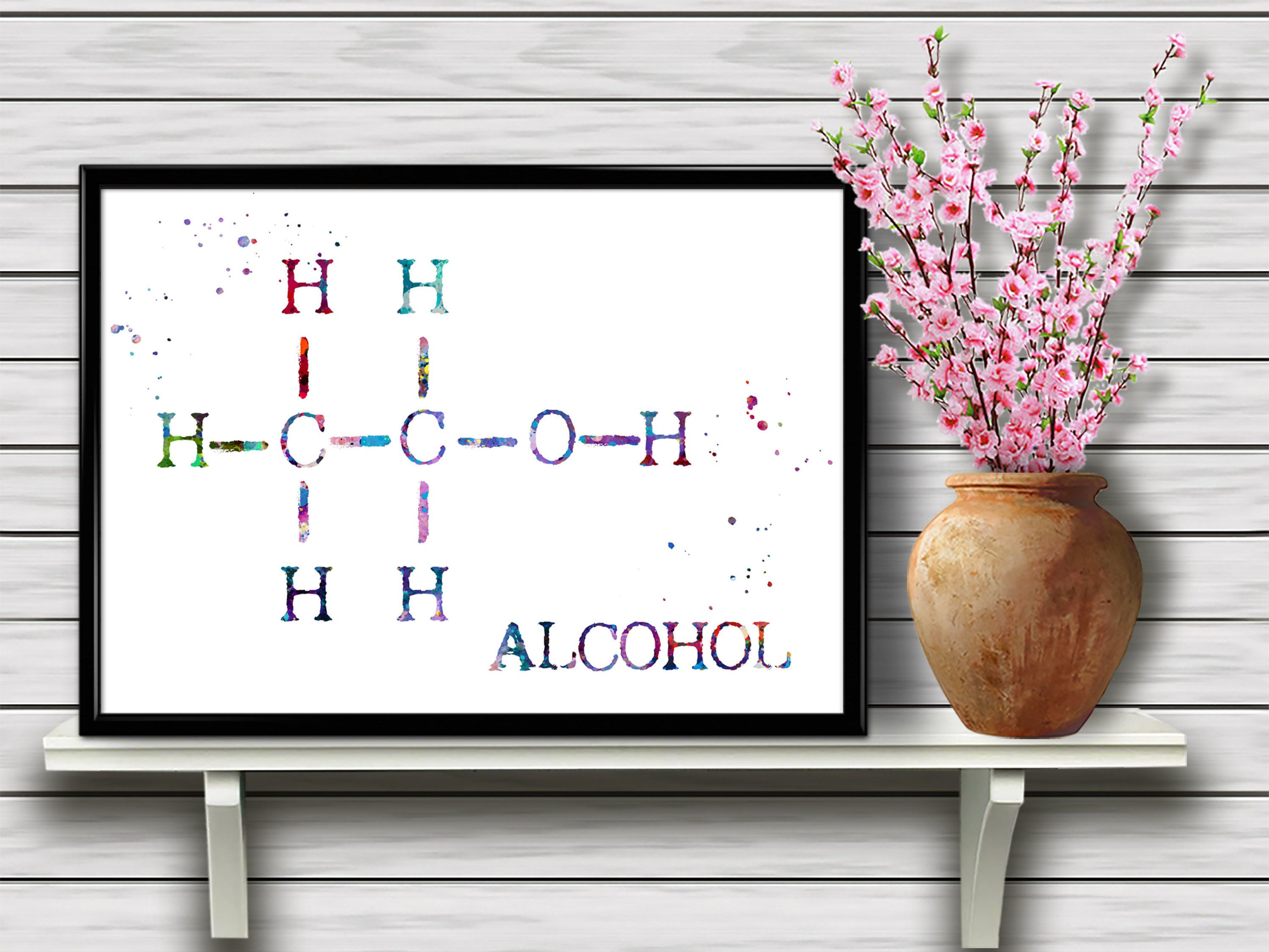 Alcohol Molecule Chemical Formula Watercolor Home Decoration