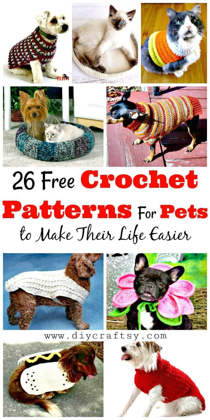 26 Free Crochet Patterns For Pets to Make Their Life Easier | Easy ...