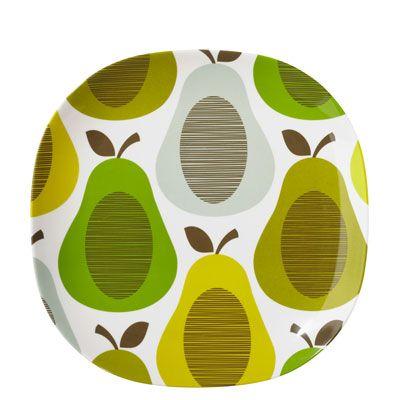 Orla Kiely | UK | House | Garden | Giant Pears Melamine Large Plate (0MELGPE730) | Peppermint