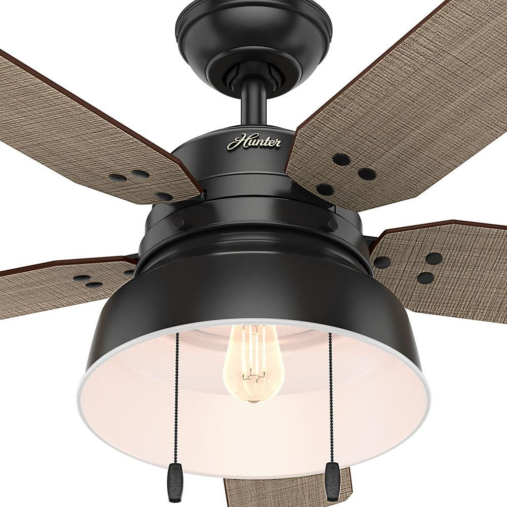 Hunter Mill Valley 52 In Led Indoor Outdoor Matte Black Ceiling Fan Ceiling Fan Light Kit Ceiling Fan With Light Fan Light