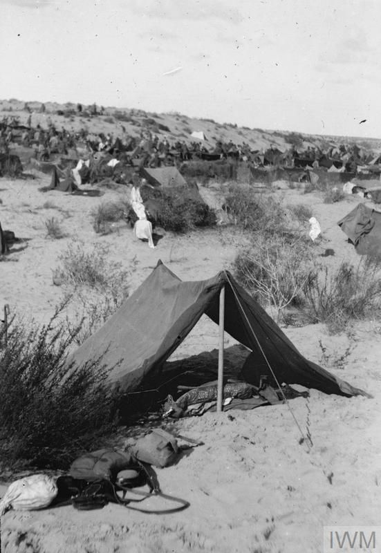 WWI Feb 1917 Officers bivouac tents El Kirbah. ©IWM : bivouac tents - memphite.com