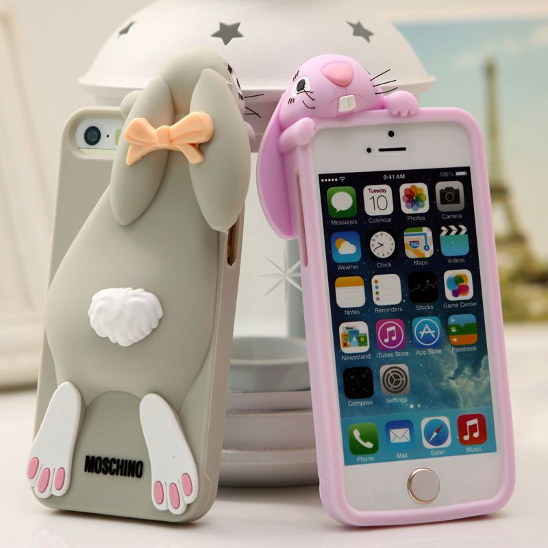 f5953456f0f Cartoon 3D Cute Buck Teeth Rabbit Silicone Case Cover For iPhone 5s ...