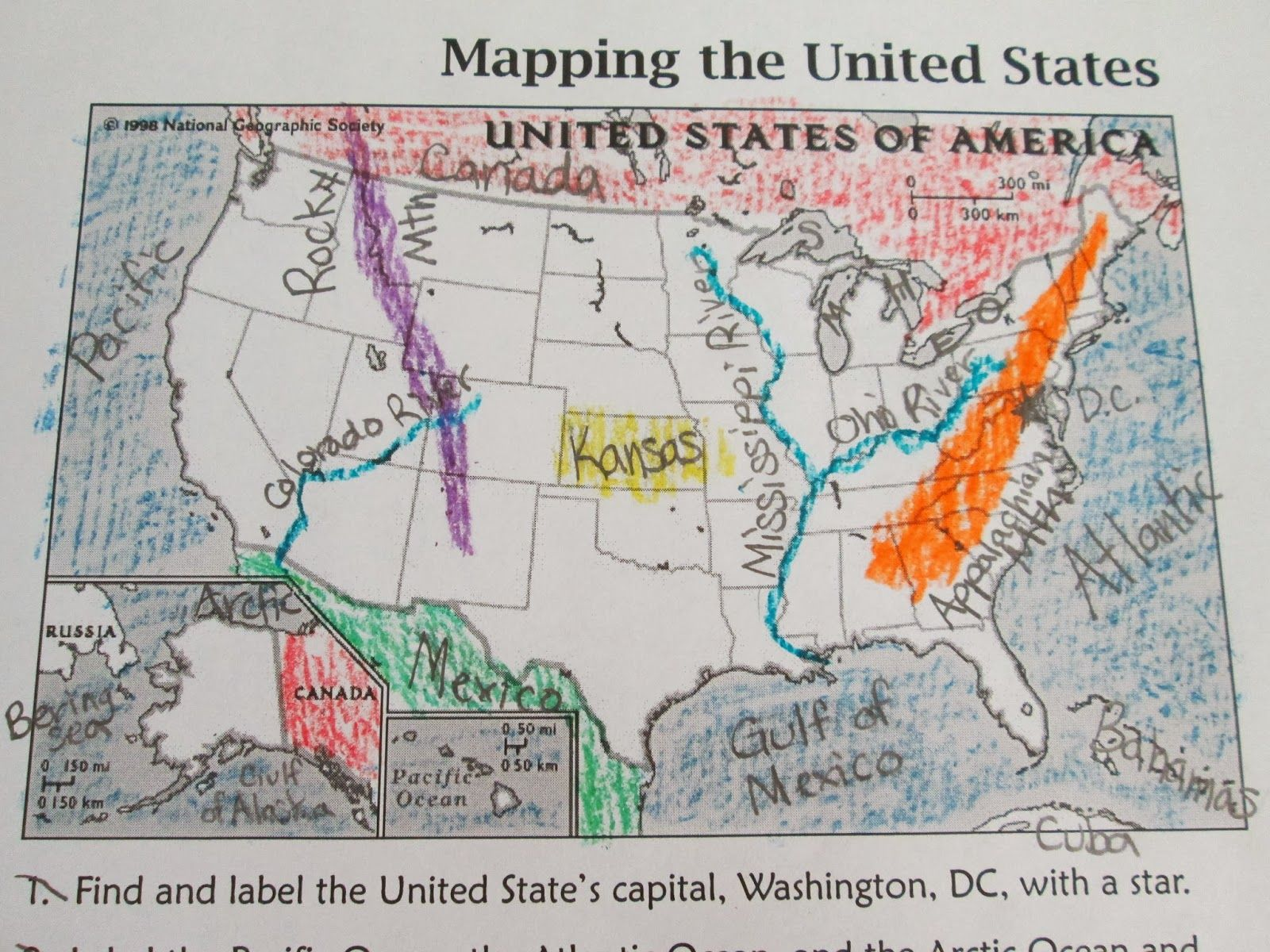 hight resolution of Landforms \u0026 Waterways in North America/USA   Geography activities