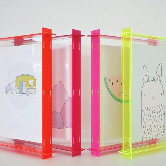 Acrylic Box Frame Fluro Yellow Neon Yellow A4 Perspex Acrylic Box Box Frames Framed Postcards