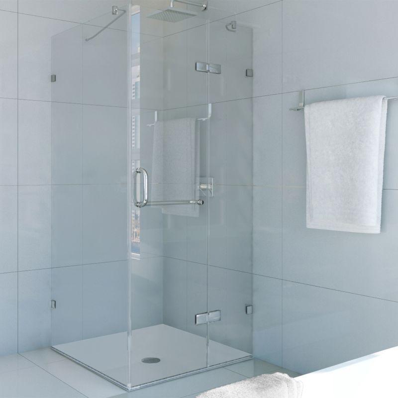 Dreamline Quatra Lux 46 3 8 In W X 34 1 4 In D X 72 In H Frameless Corner Hinged Shower Enclosure In Chrome Shen 1334460 01 The Home Depot Frameless Shower Enclosures Chrome Shower Door Frameless Shower Doors