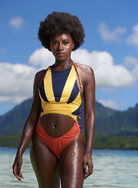 983eaf387580d GULA Color Block Yellow Navy Coral One Piece Swimsuit in 2019 ...