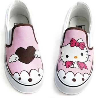 Unisex Hello Kitty Hand Painted Shoes Children Sneakers Boy And Girls Canvas Shoes Jpg 350x350 Jpg 350 342 Hello Kitty Shoes Painted Canvas Shoes Canvas Shoes