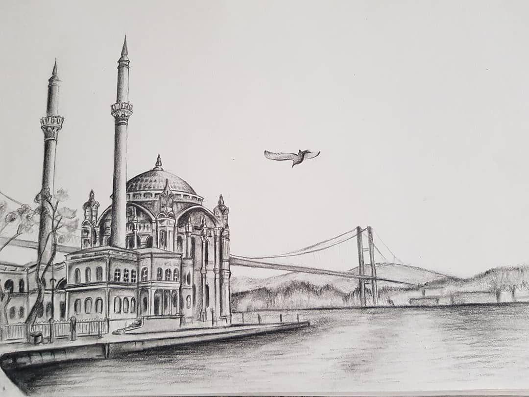 Istanbul Mosque Bosphorus Bosfor Cami Istanbul Turkey Ortakoymosque Bridge Architecture Mosque Drawing Cami Ortak Islami Sanat Istanbul Sanat