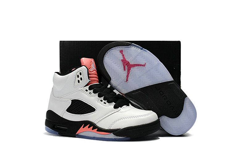 5c2a331cb3490e Kids Air Jordan 5 Retro GS Sunblush White Black-Sunblush 440892-115 ...