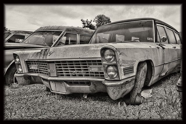 For Whom The Bell Tolls Hearse Abandoned Cars Graveyard
