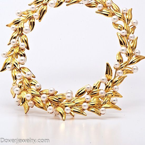 Vintage Tiffany & Co Pearl Gold Wreath Necklace