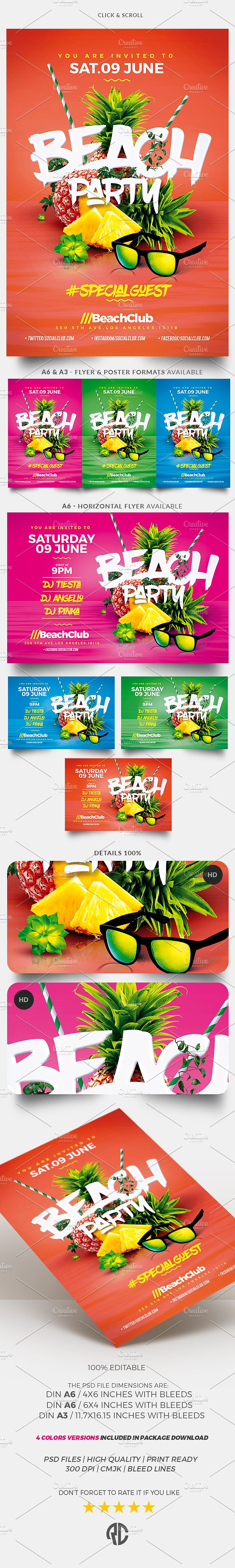 summer party package by creative flyers on creativemarket