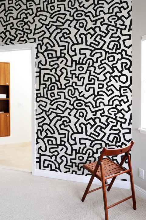 Adesivi Murali Keith Haring.Fresque Murale Popshop Keith Haring 48 Art Zentangle Doodles