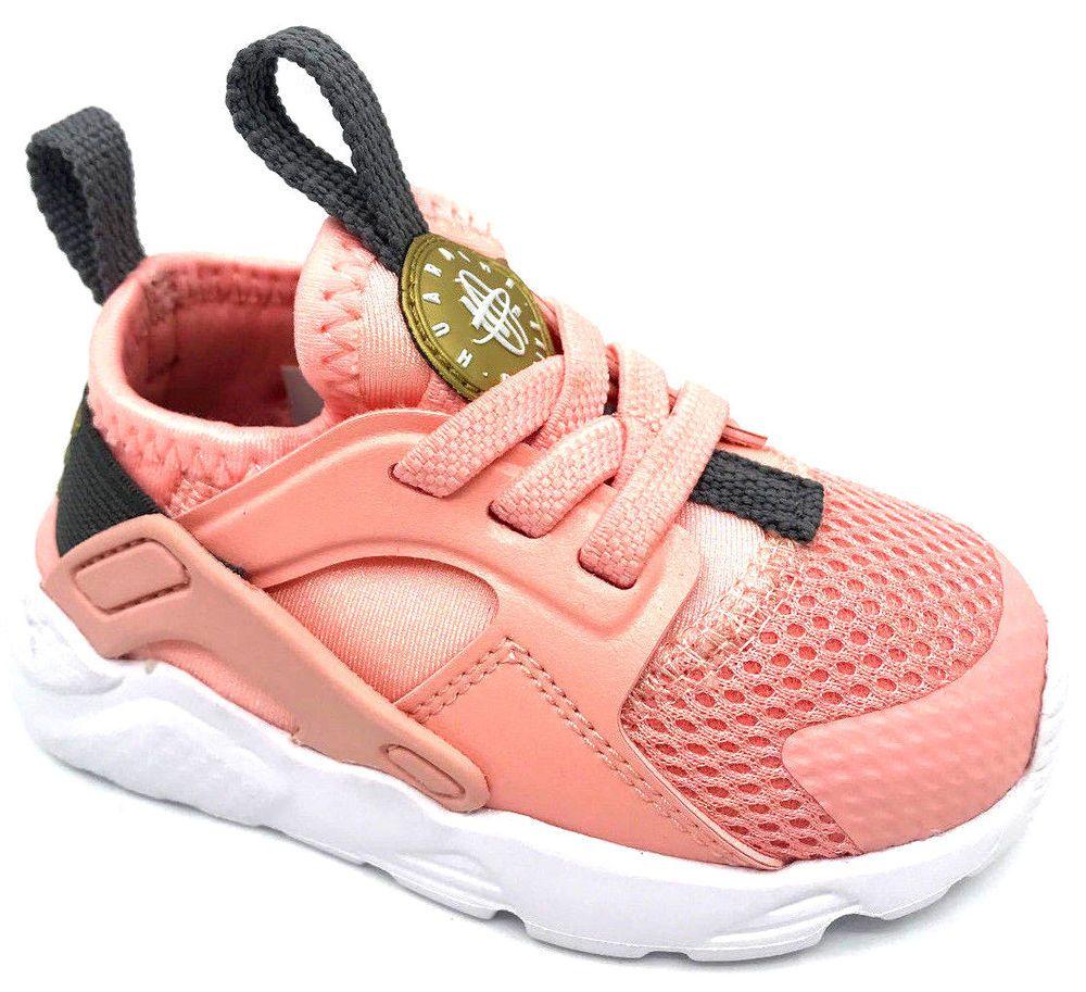 f77252d30f14 eBay  Sponsored Nike Huarache Run Ultra TD Girls Bleached Coral Metallic  Gold 859595-600 Size 5C