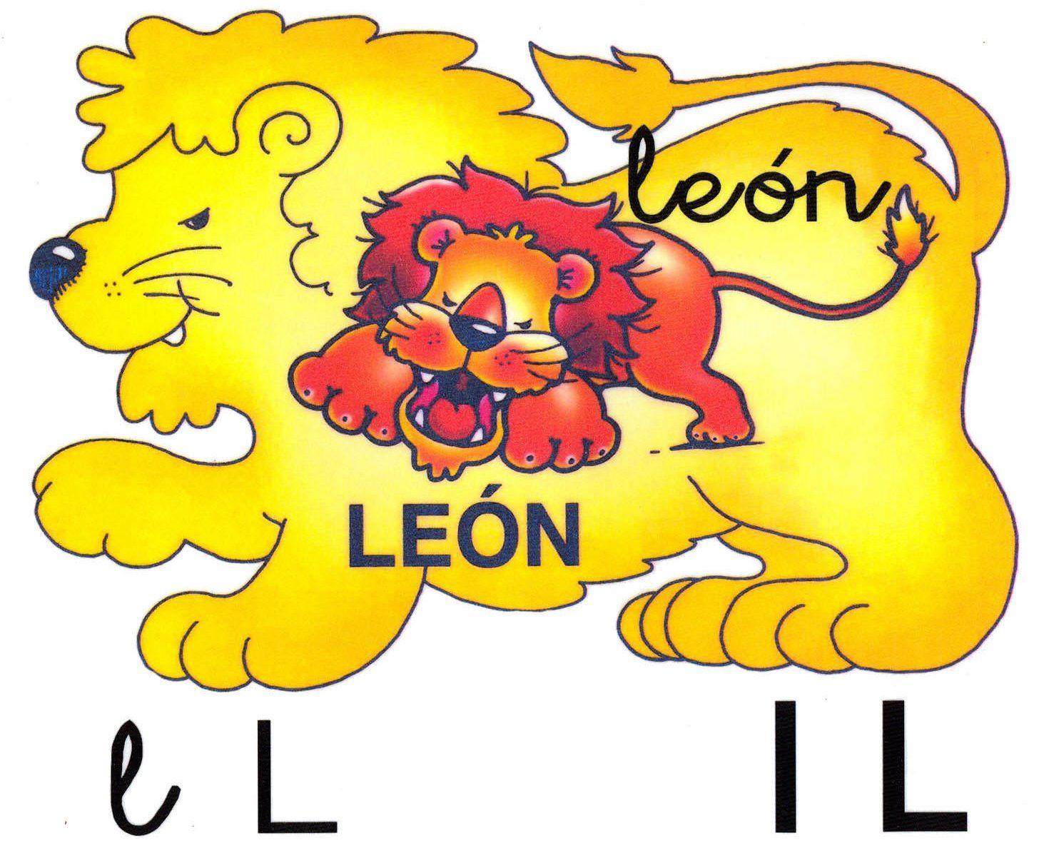 Letra l minúscula, L mayúscula. León.