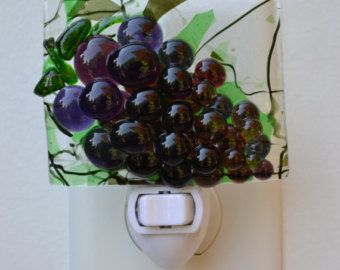 Bunch of Purple Grapes Fused Glass Night Light - Edit Listing - Etsy