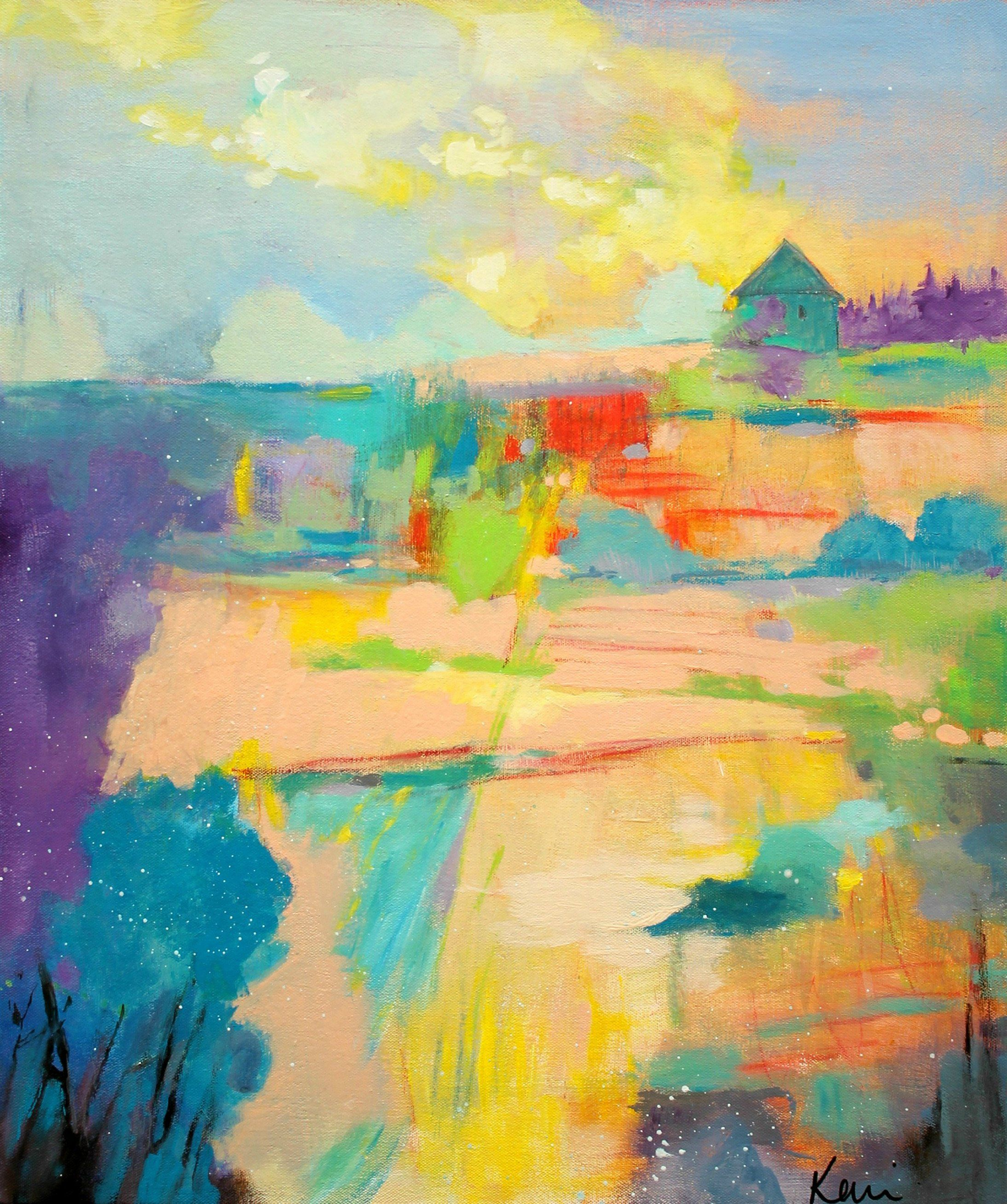 Colorful Abstract Landscape Painting On Canvas Country Scene Farm Trees Land Home Is Canvas Painting Landscape Abstract Painting Abstract Expressionist Art