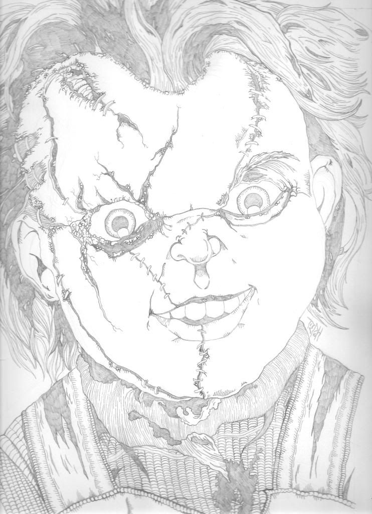 Chucky doll Coloring Pages Printable Tribute piece to everyones