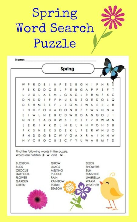 Spring Word Search Puzzle Printable With Images Spring Words