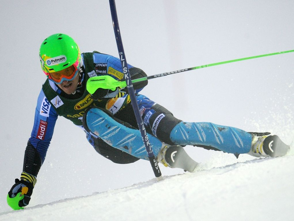 Ted Ligety of the United States skis during the men's World Cup slalom in Levi, Finland.