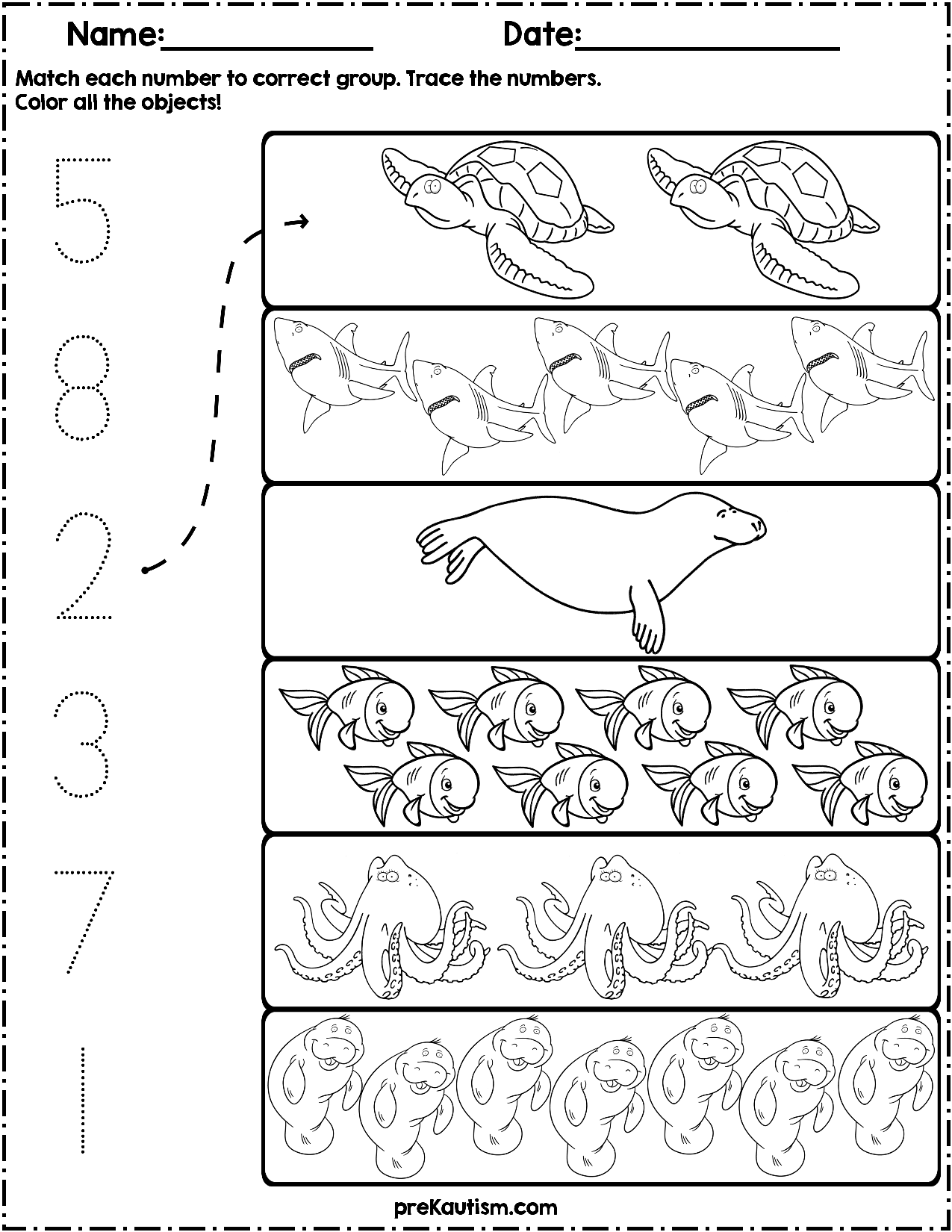 $1.50   Use these worksheets to teach quantity counting and number writing!  Pack includes 10 ocean animal…   Ocean activities preschool [ 1650 x 1275 Pixel ]