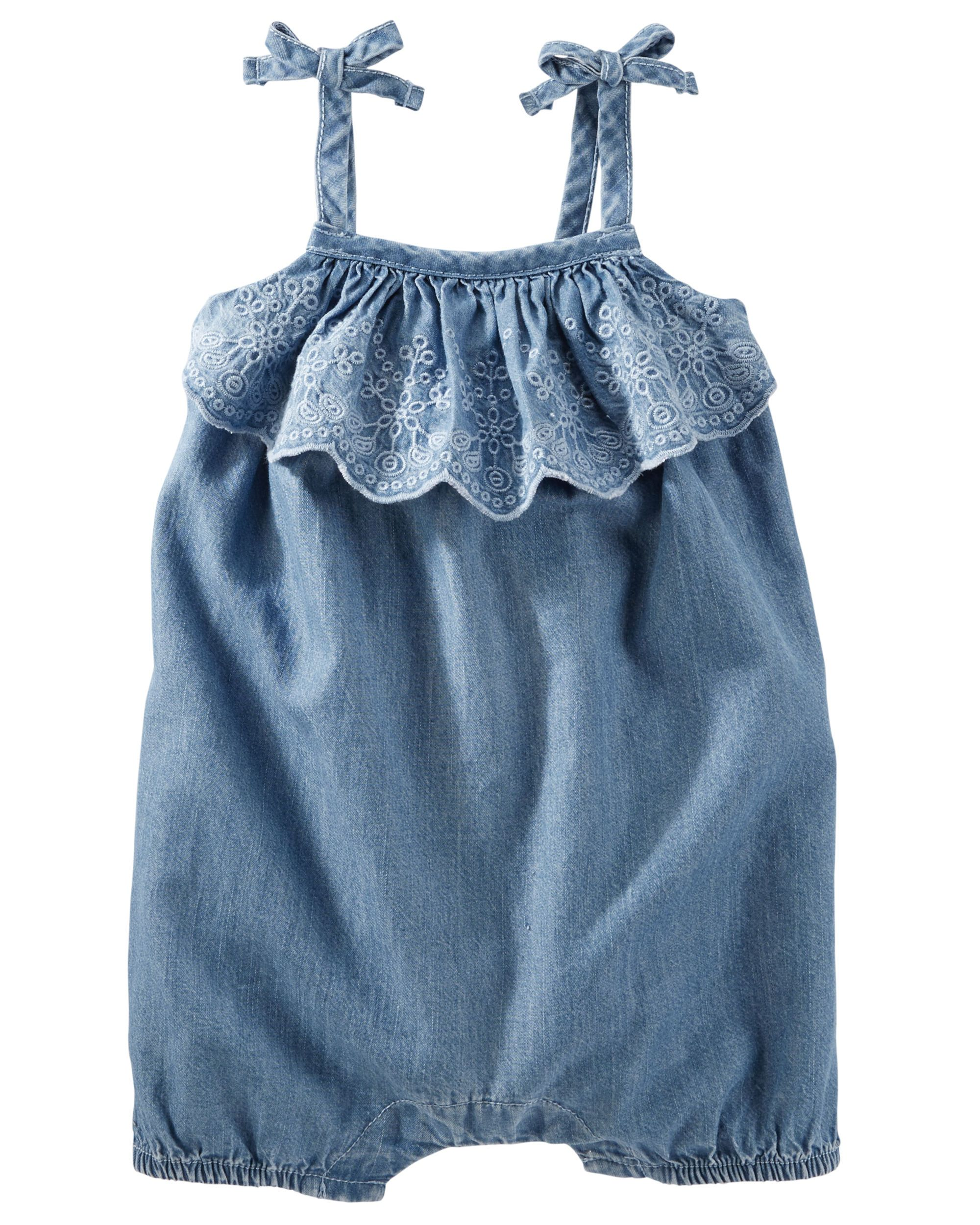Baby Girl Eyelet Ruffle Chambray Romper. With eyelet embroidered ruffles, scalloped edges and tacked bows, it's the little details that make this chambray romper sweet for spring.