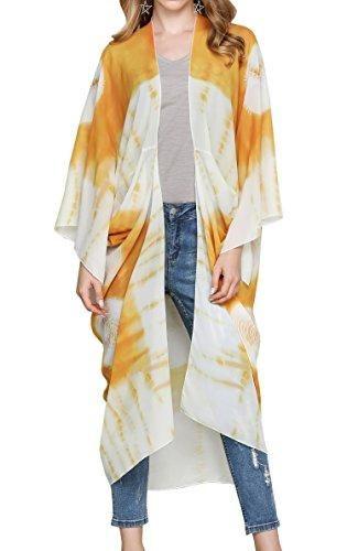 56da323592d1af Hibluco Women s Sheer Chiffon Floral Kimono Cardigan Long Blouse Loose Tops  Outwear