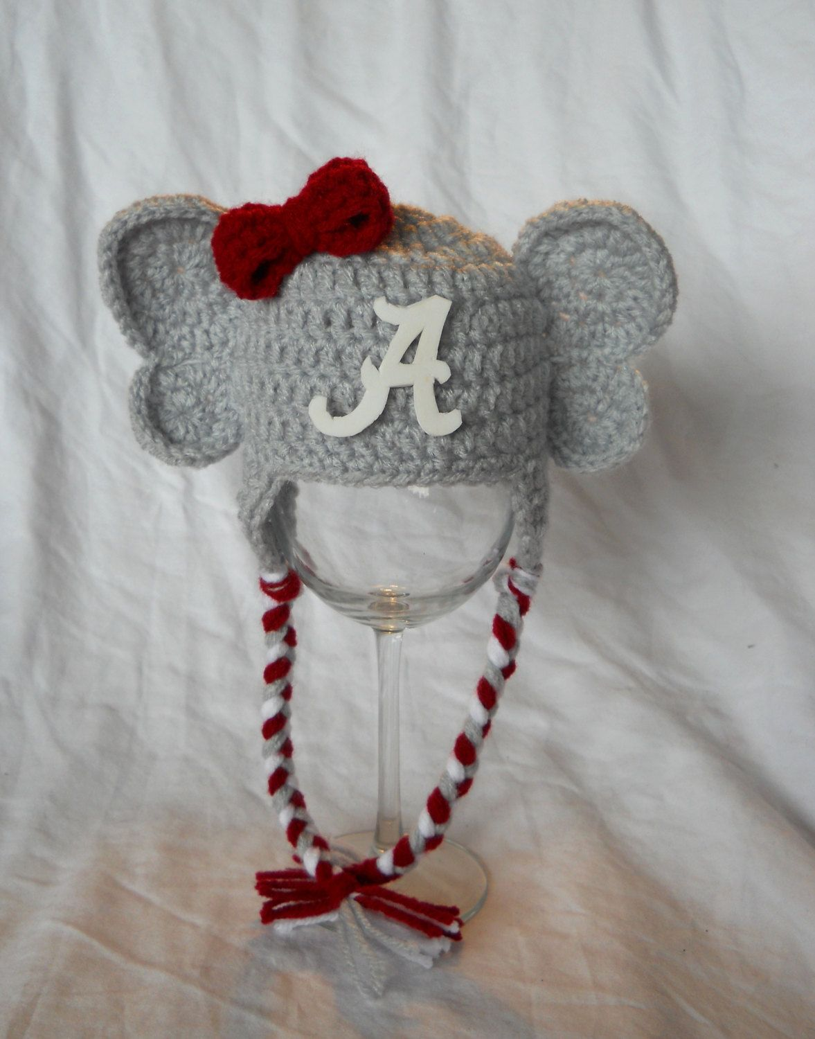 Girls crochet university of alabama baby elephant hat with logo girls crochet university of alabama baby elephant hat with logo cute roll tide toddler age 1 3 bankloansurffo Choice Image