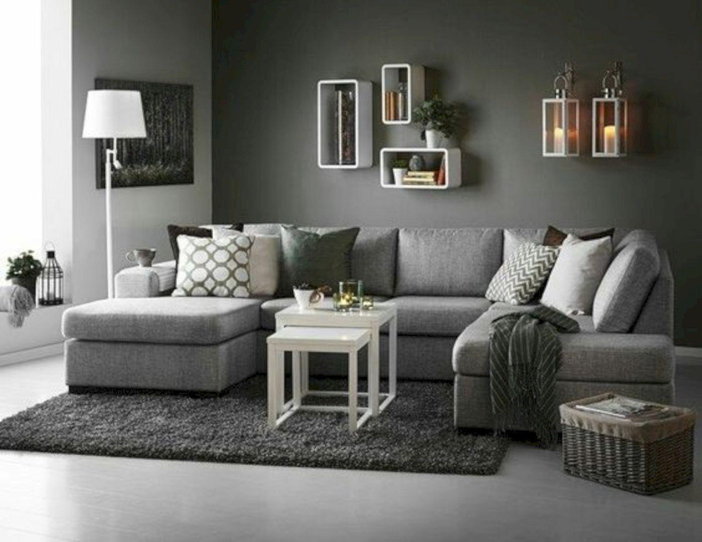 16 Interior Design Ideas with Grey Walls | Grey sofa ...