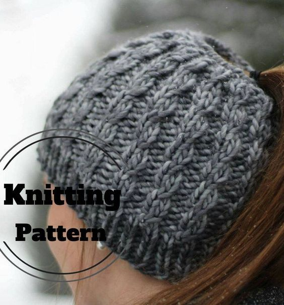 Knitting Pattern for Faux Cable Messy Bun Hat - Easy ponytail beanie is a  quick knit in bulky yarn. d272b99a731