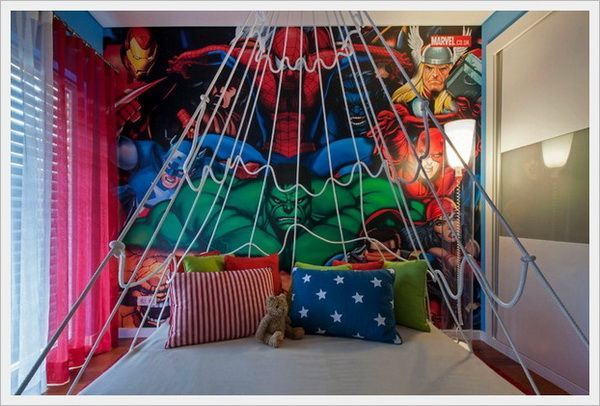 Cool Superhero Marvel Wall Murals On Modern Kids Bedroom With