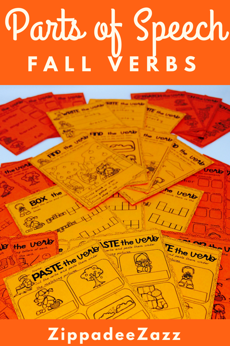 Worksheets For Parts Of Speech Verbs For Fall With Images