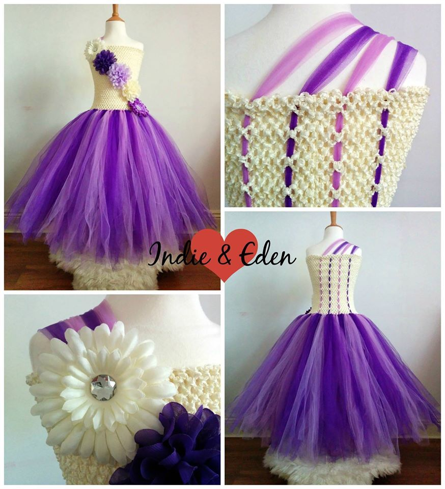Purple & cream tea length tutu with flower detail to front of bodice ...